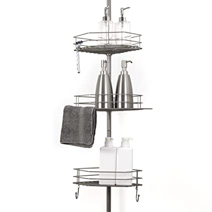 Amazon.com: BINO Tension Pole Corner Shower Caddy for Shampoo ...