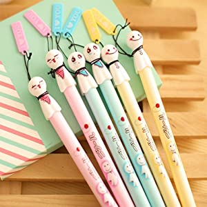 SPHTOEO 6PCS Japanese Sunny Doll Ornament Black Ink Gel Pens cute creative Stationery and office supplies