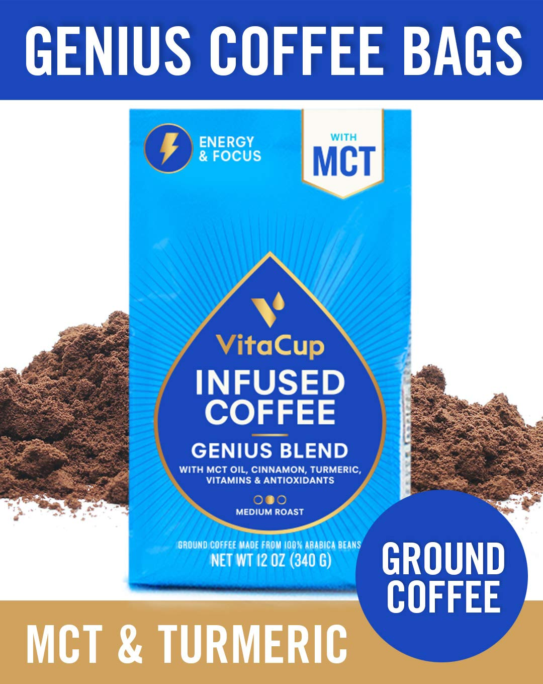 VitaCup Genius Blend Ground Coffee Bags 12oz. with MCT Oil, Turmeric, Vitamins, Cinnamon, Keto|Paleo|Whole30 Friendly, B12, B9, B6, B5, B1, D3, and Antioxidants for Coffee Brewers, Pots, French Press by VitaCup (Image #1)