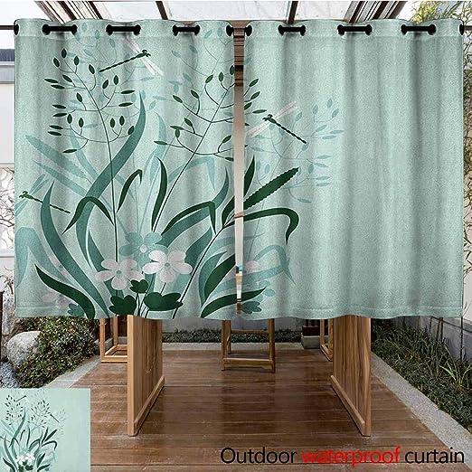 AndyTours - Cortina para Puerta corredera, diseño de libélula, Ramas de muelles vivas, Ramas de Flores y árboles, para Patio/Porche Frontal, Color Rosa pálido, marrón, Verde Lima: Amazon.es: Jardín