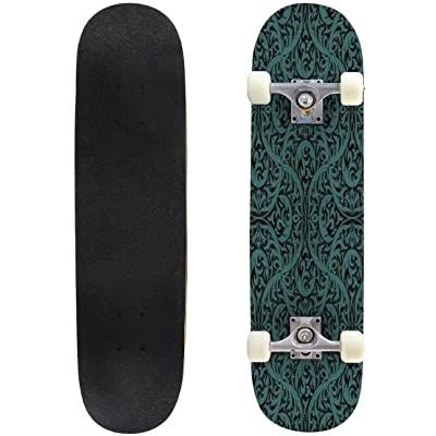 """Roses Seamless Pattern Outdoor Skateboard 31""""x8"""" Pro Complete Skate Board Cruiser 8 Layers Double Kick Concave Deck Maple Longboards for Youths Sports : Sports & Outdoors"""