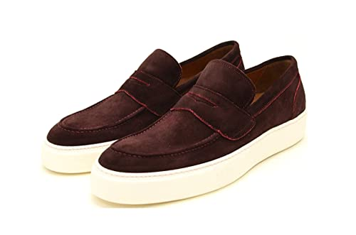 DI GIROLAMO 1991 Mocassino - Mocasines de Cuero para Hombre Morado Burdeos: Amazon.es: Zapatos y complementos