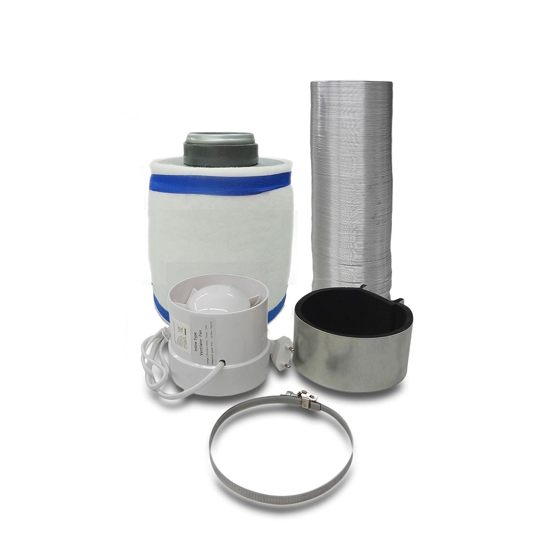 Abluft-Filter Grow Klimaset /Ø100mm bis 160m/³//h Zentrifugal L/üfter 130 m3//h f/ür Growbox