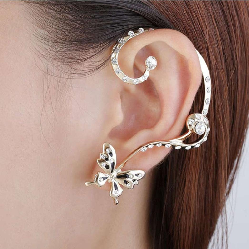 Minshao New Fashion Crystal Beauty Women Butterfly Cuff Ear Clip