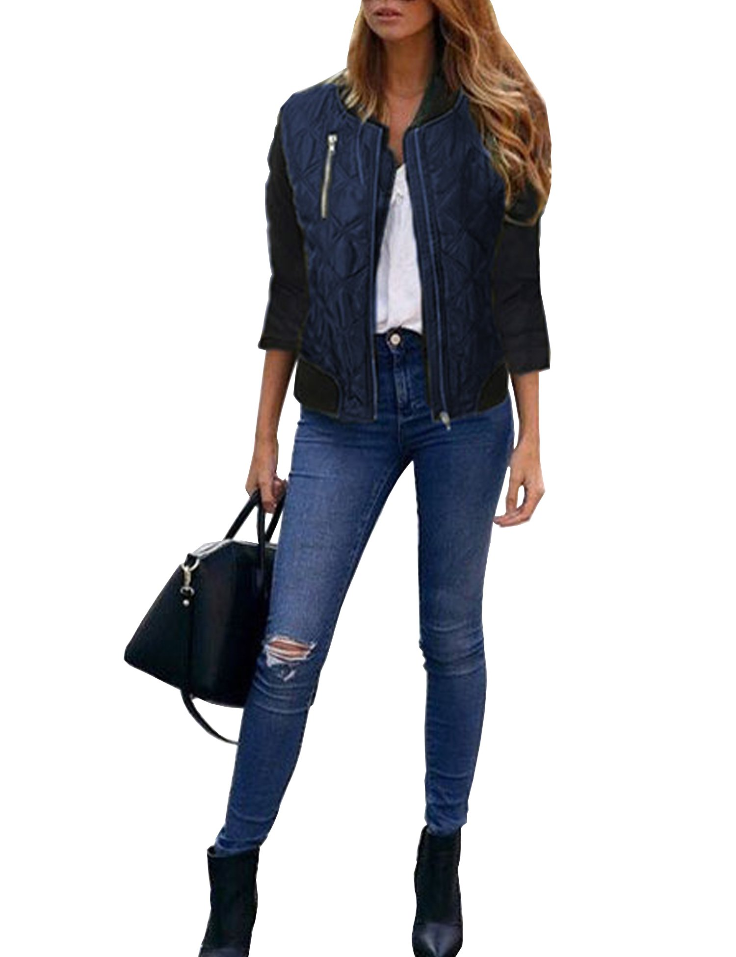 Roaays M Womens Stylish Zip up Quilted Jackets Coat S-XXL