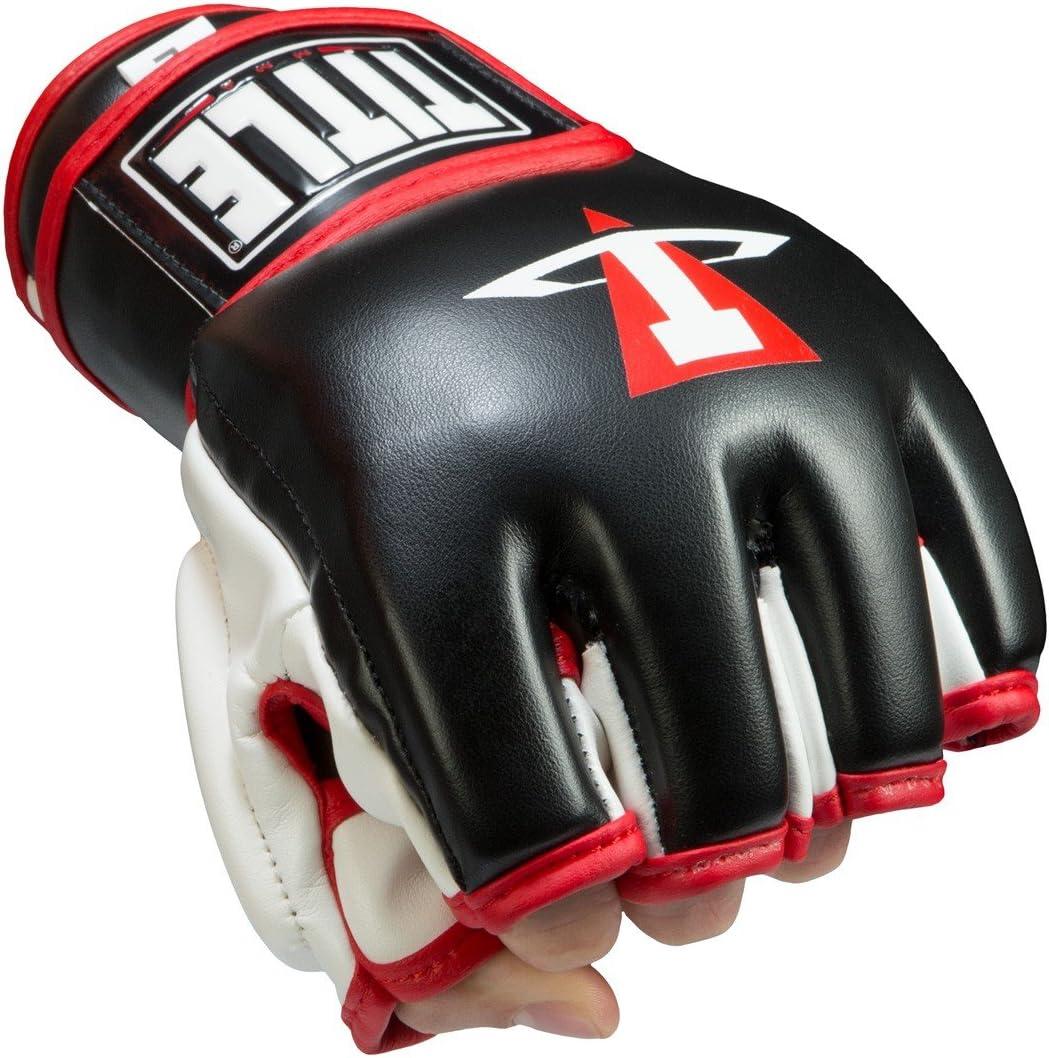 タイトル競合MMAトレーニンググローブ ブラック/ホワイト/レッド Large