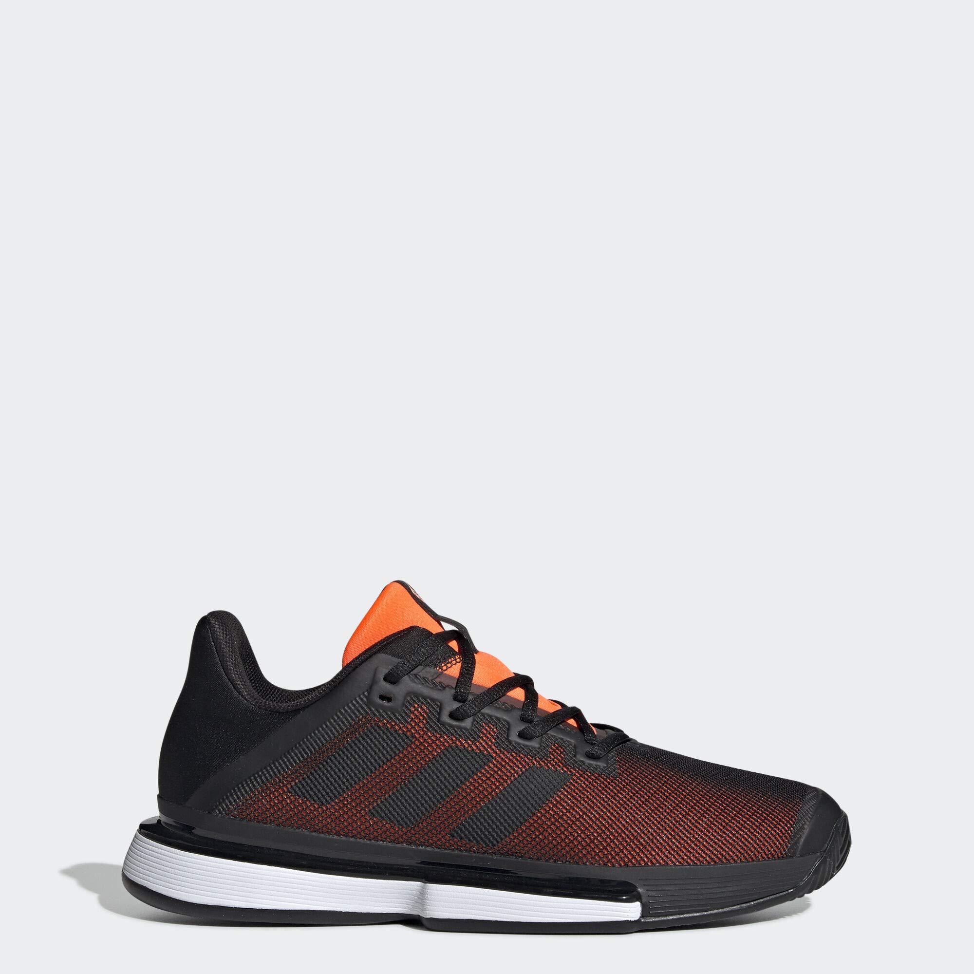 adidas Men's SoleMatch Bounce Tennis Shoe, Black/Solar Orange, 9.5 M US by adidas