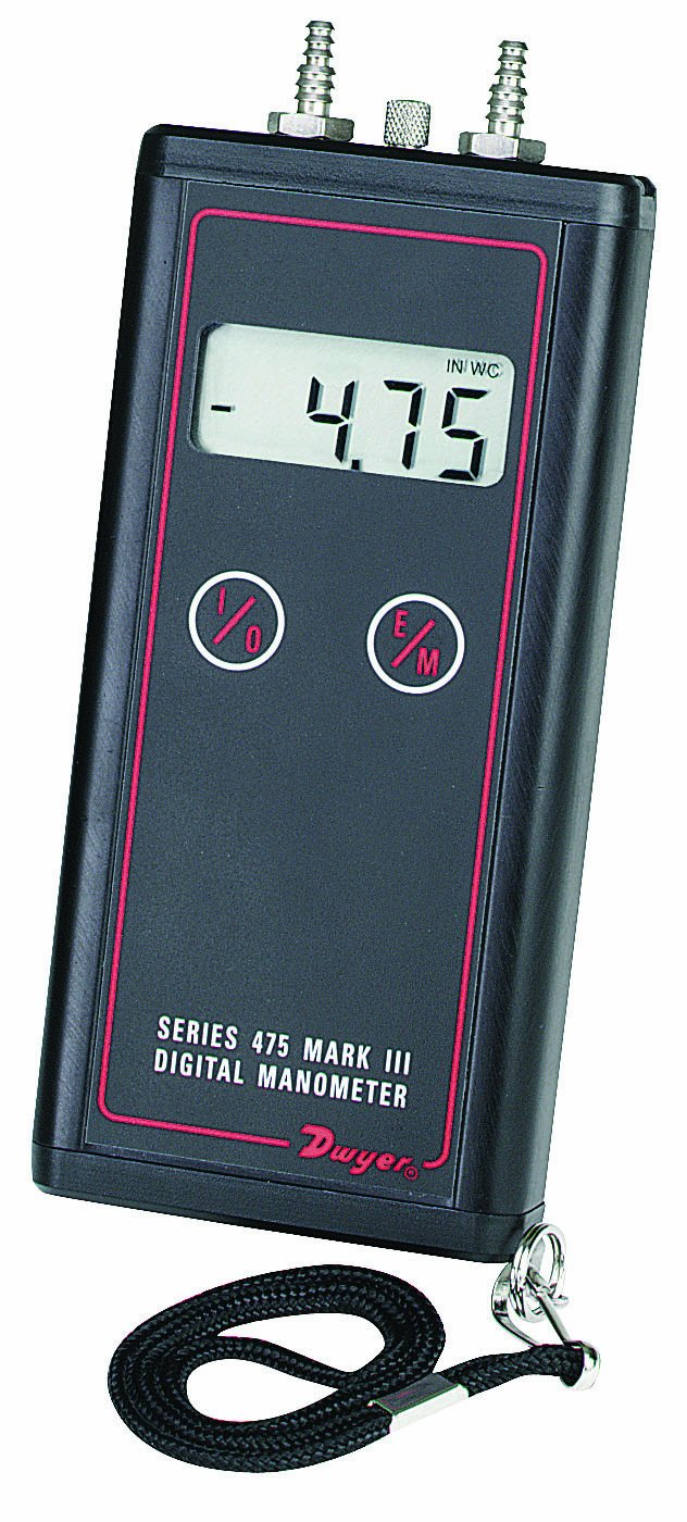 Dwyer Series 475 Mark III Handheld Digital Manometer, 0-1.000'WC Range, 5 psig Maximum Pressure 0-1.000WC Range Dwyer Instruments 475-000-FM