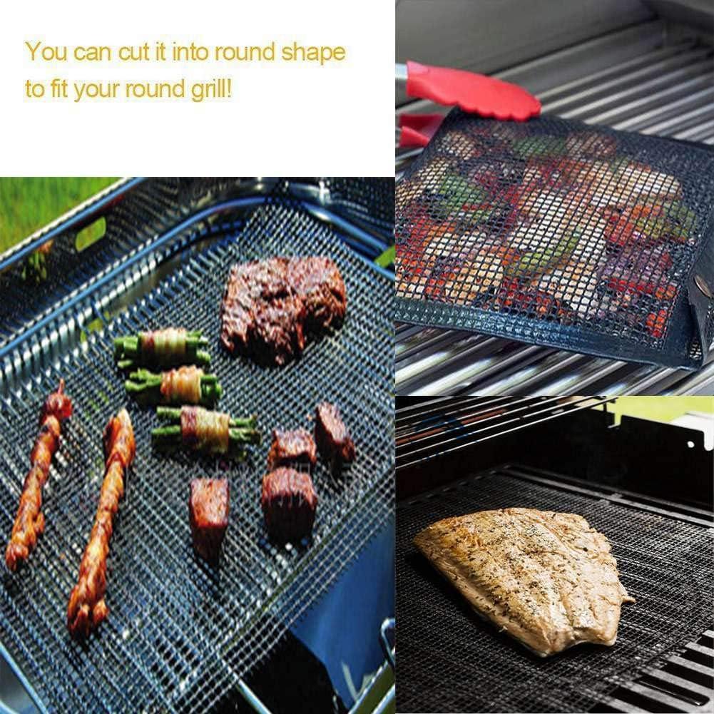 Ukoudadao9haowanh 1PC Grille de barbecue anti-adhésive en Téflon réutilisable pour griller, cuisiner, pâtisserie, grill, 40 x 33 cm 2 pièces.