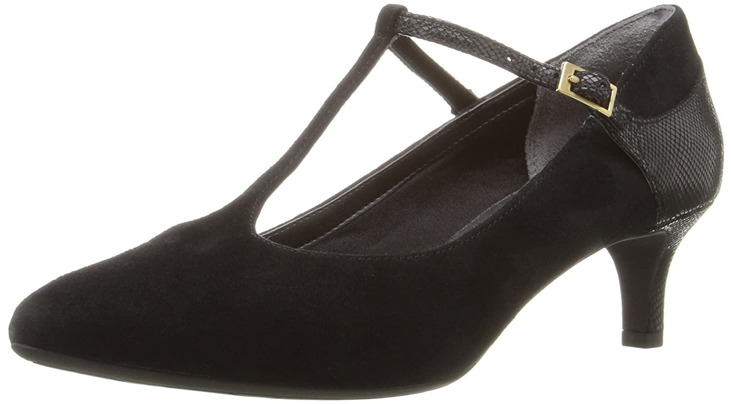 Rockport Women's Total Motion Kalila T-Strap Dress Pump B01ABS1KSG 10 W US|Black Kid Suede