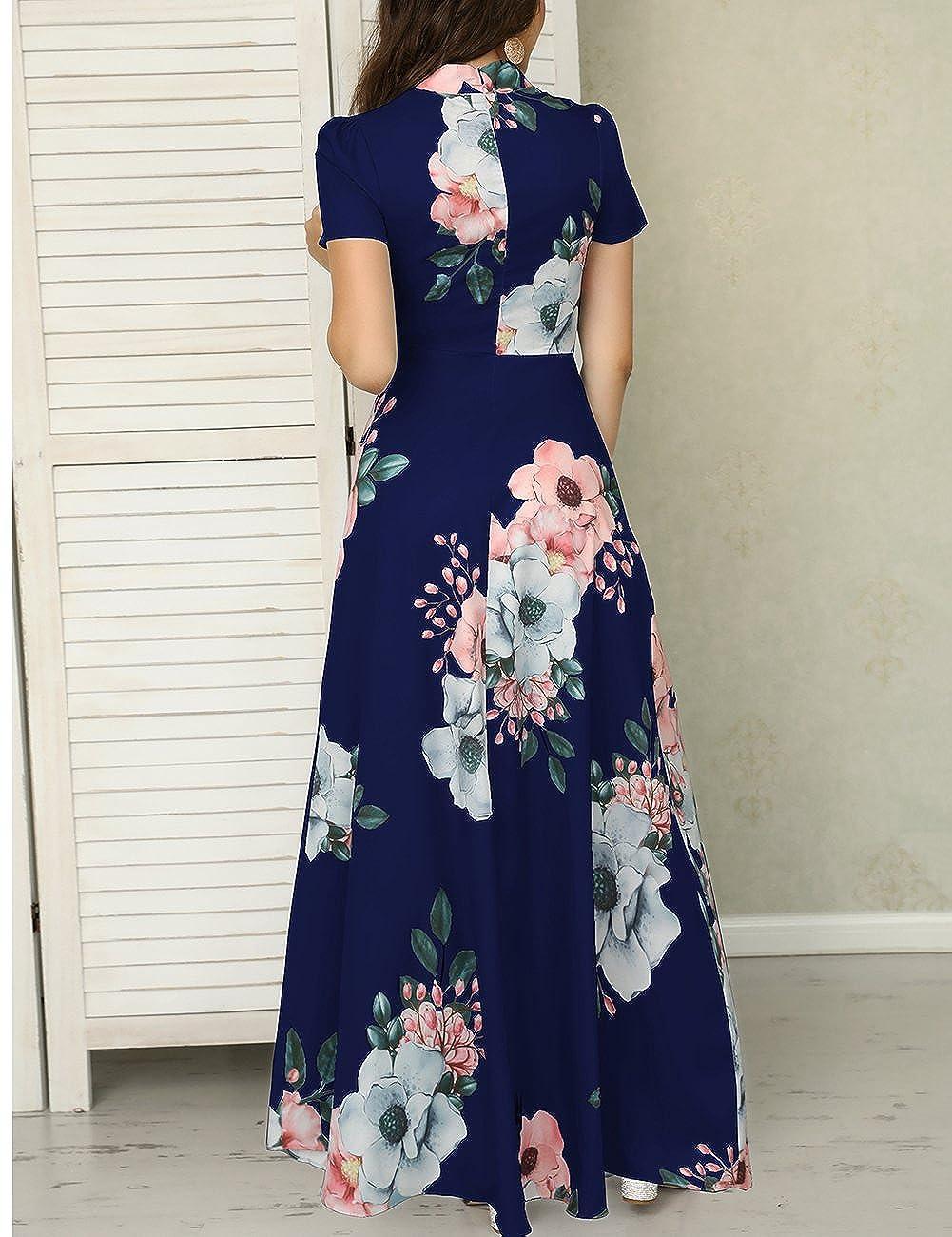 de816eaa95a Ivrose Womens Short Sleeves Floral Maxi Dress Blue L at Amazon Women s  Clothing store