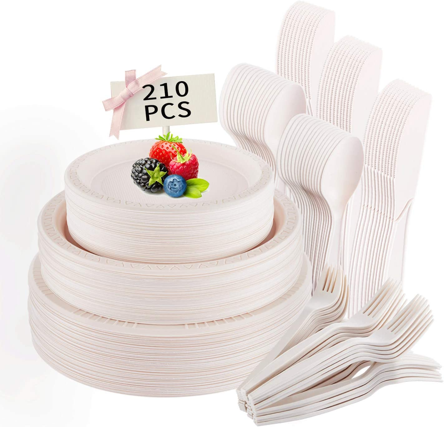 210PCS Disposable Plates, Compostable Cornstarch Cutlery Eco Friendly Tableware Biodegradable 100% Paper Plates, Forks, Knives and Spoons for Party, Camping, Picnic, BBQ