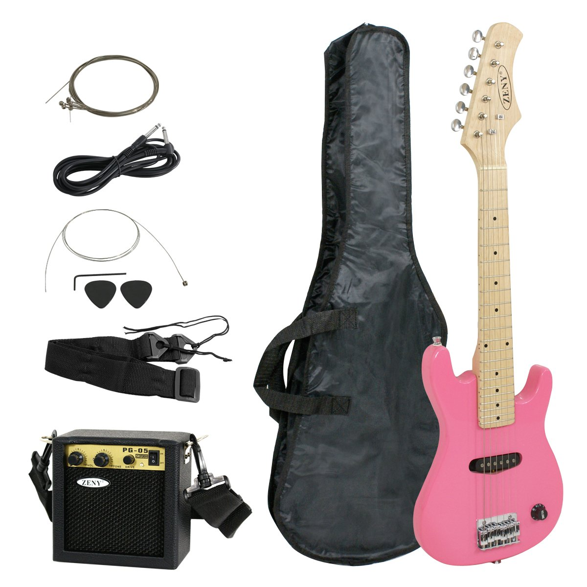 ZENY 30'' Electric Guitar Set Beginner Kits for Kids with 5W Amp,Gig Bag,Cable,Strap (Black)