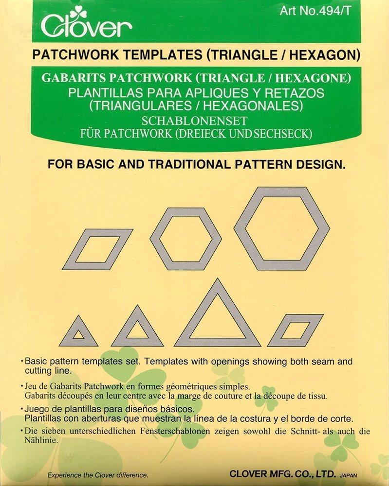 Clover Set di 7 Modelli per Patchwork, Triangoli ed Esagoni