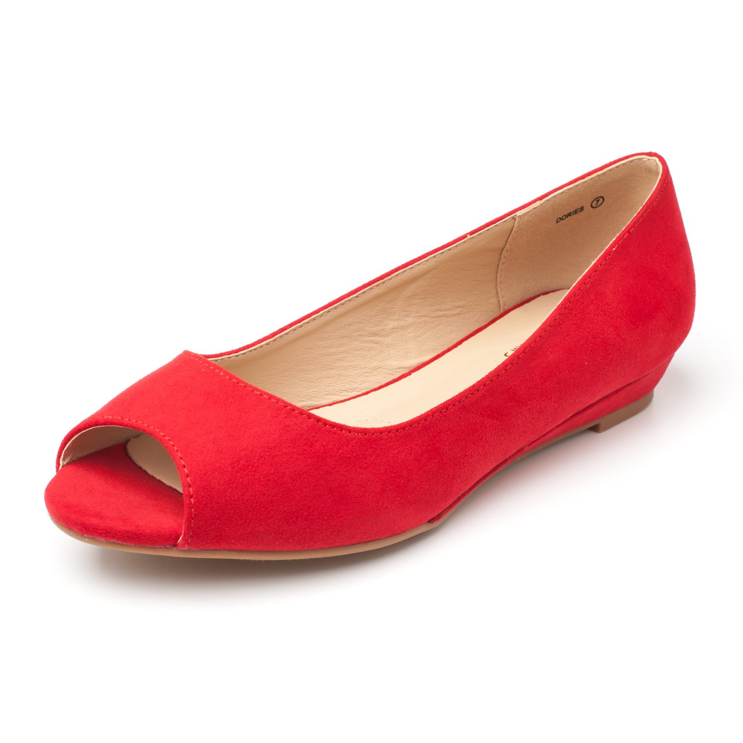 DREAM PAIRS Women's Dories Red Suede Low Wedge Peep Toe Flats Shoes Size 8 M US