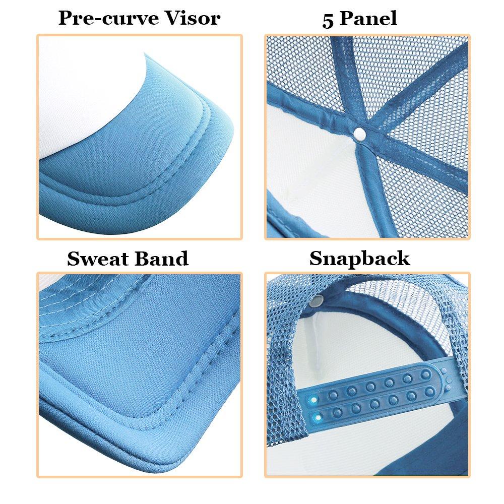 Opromo 2 Tone Mesh Trucker Cap Adjustable Snapback 19 Colors-Light Blue//White-48PCS