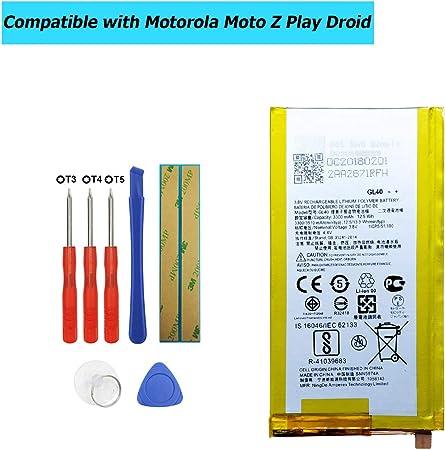 Upplus GL40 - Batería de Repuesto para Motorola Moto Z Play Droid XT1635 SNN5974A (3300 mAh, 3,8 V, con Kit de Herramientas): Amazon.es: Informática