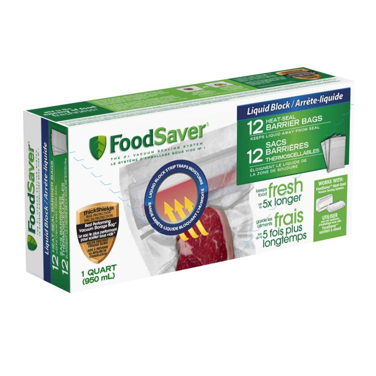 FoodSaver Liquid Block Quart Size Bags (12 Count) FSFSBFLB216-033