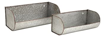 Amazon Com Park Hill Set Of Galvanized Metal Wall Mounted Trough