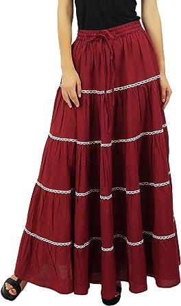 Bimba Larga para Mujer Flaired algodón Falda de Boho Maxi Faldas ...