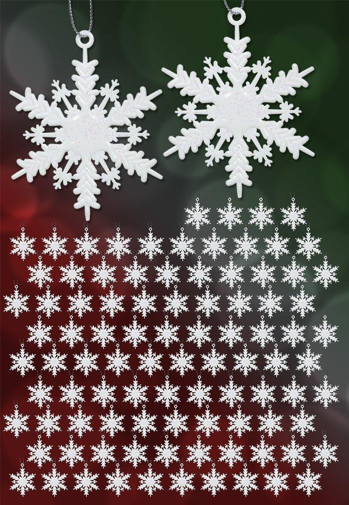 amazon com white snowflake ornaments set of 96 small 2 white