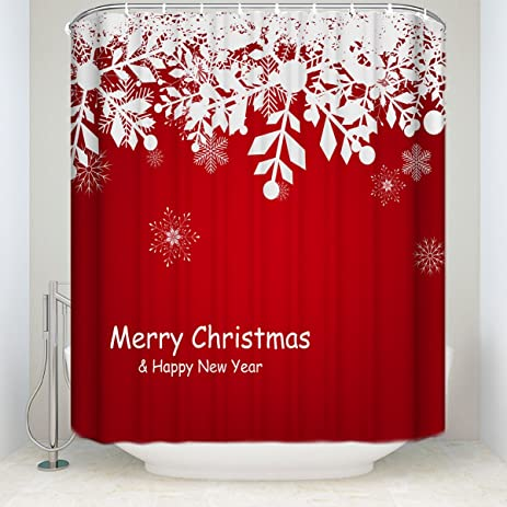 CHARMHOME Mold Resistant Shower Curtain, Merry Christmas Happy Snowflakes  Design 66x72 Inch, Anti