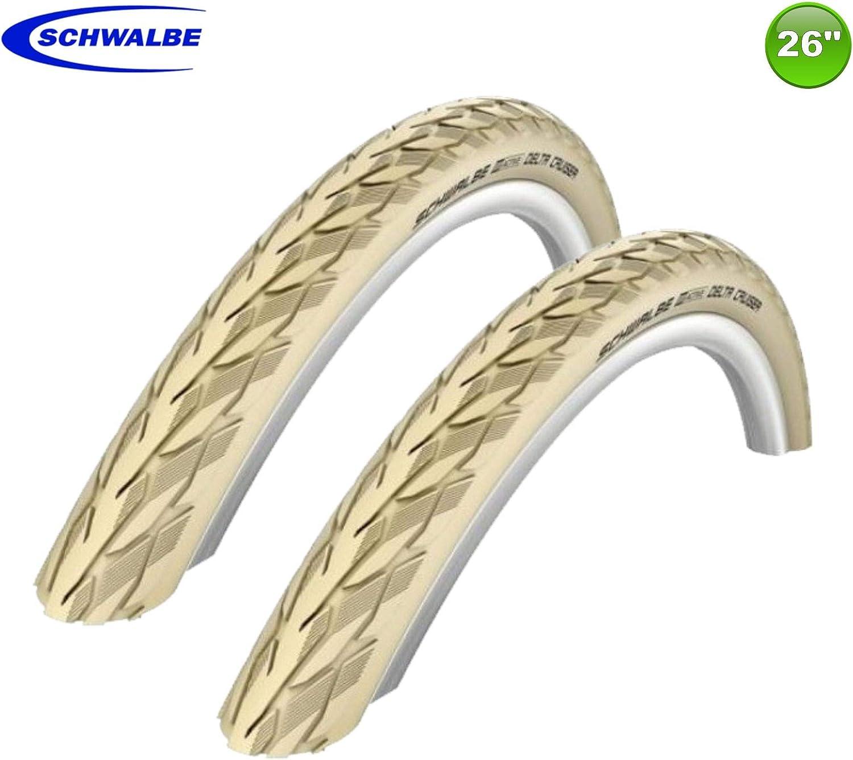 Pair Schwalbe 26 X 1//38 Delta Cruiser White Wall Tyres. 37-590