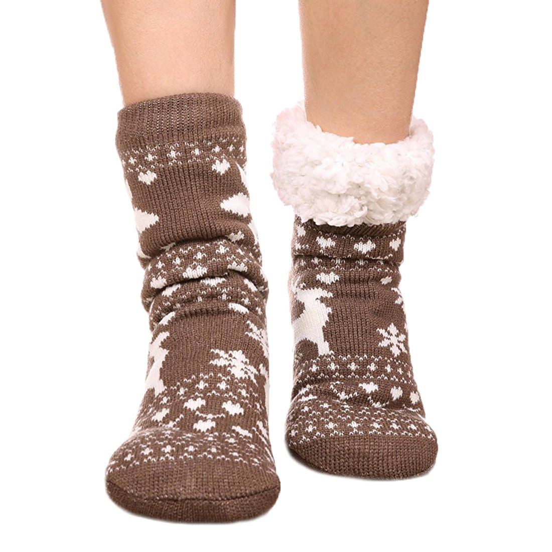 FRALOSHA socks Winter Socks Warm Cozy Fuzzy lined Slipper Socks Womens Socks