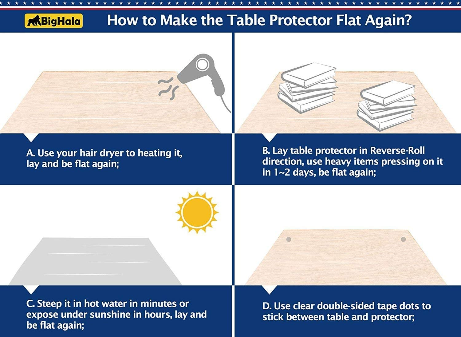 Clear Table Protector Plastic Tablecloth Cover Rectangle Wood Furniture Protector Dining Room Protection Pad Desk Protective Cover Easy Clean PVC Mats Wipeable Waterproof Vinyl Cloths 42 x 96 inch