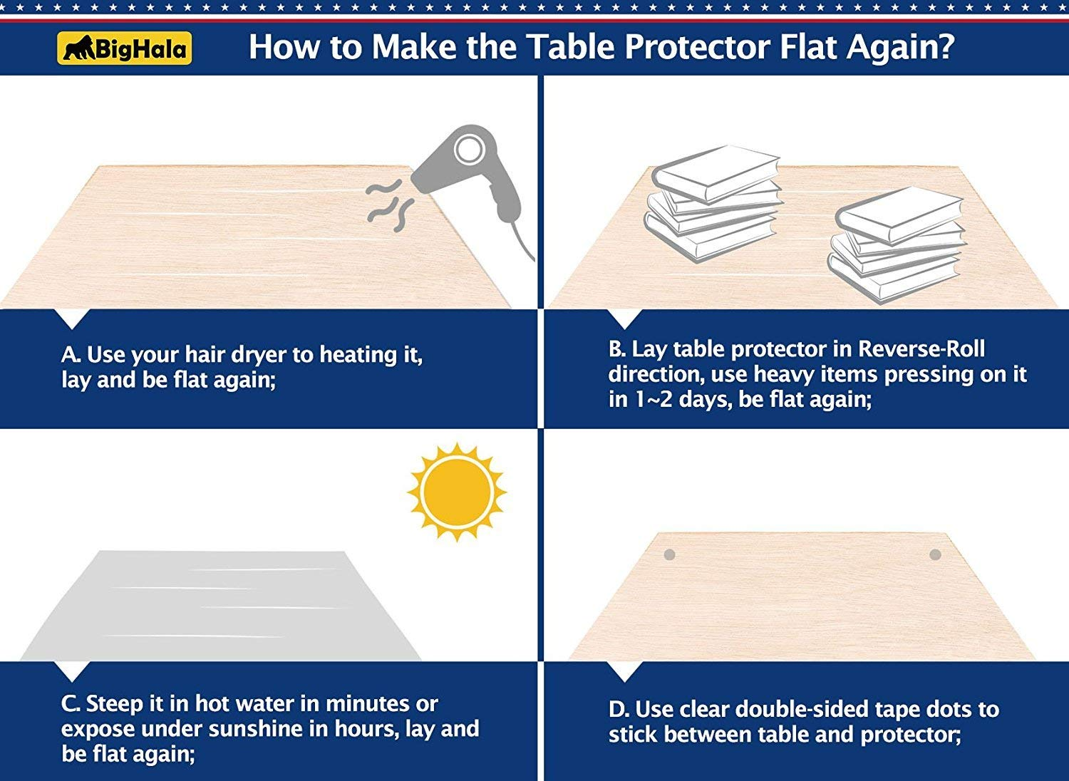 36 X 60 Inch Clear Plastic Tablecloth Table Protector Eco Thicken Protective Desk Blotter Mat Cover Waterproof Wipeable Tablecloth Roll Easy Clean PVC Vinyl Dining Coffee Tabletop Protection Liner Pad by BigHala (Image #7)