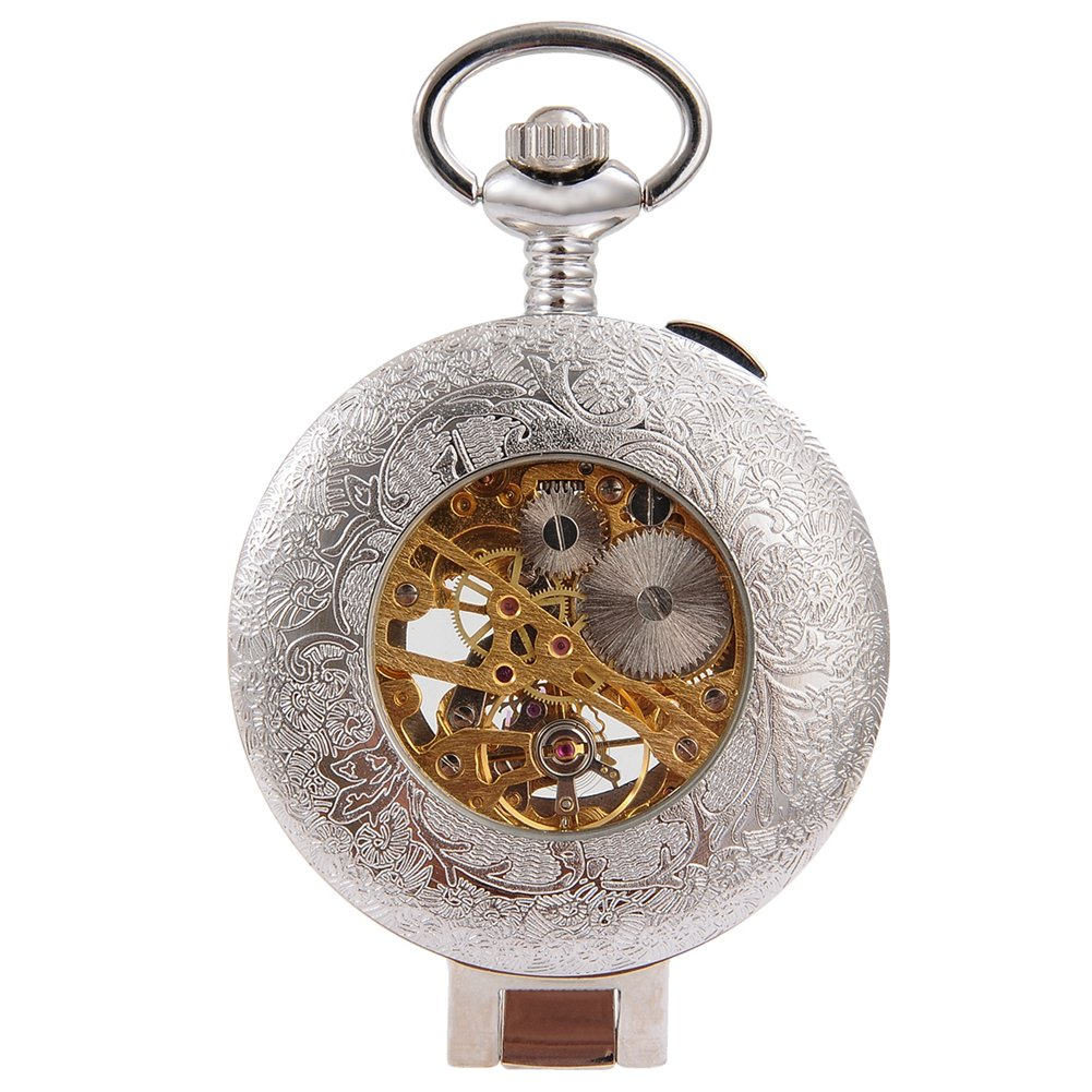 Steampunk Silver Skeleton Men Women Kids Metal Mechanical Pocket Watch by Top Fashion Watches (Image #2)