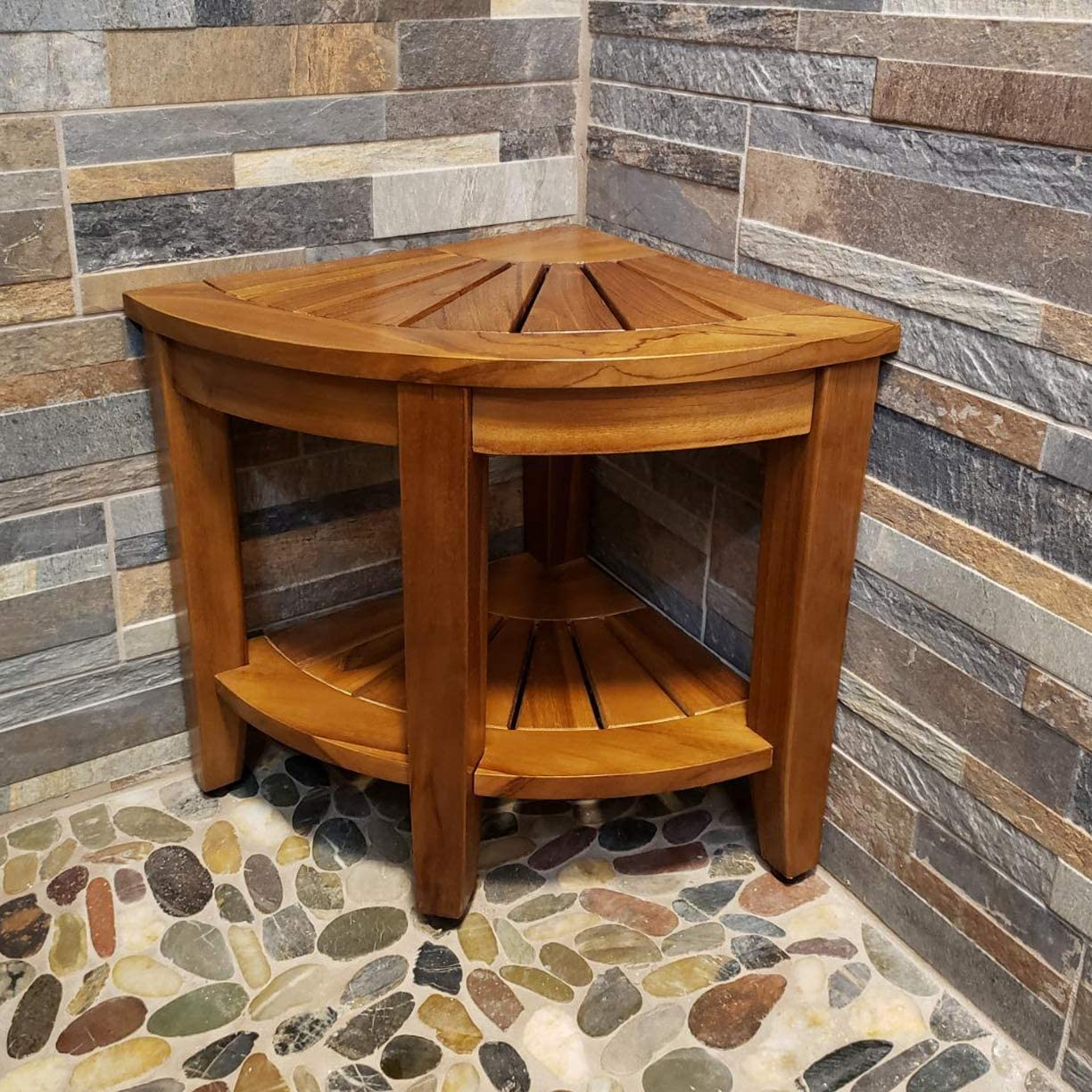 "Teak Shower Bench, Teak Shower Stool, 18"" Teak Wood Bath Spa Shower Stool Corner Bench Stool, All Teak Wood Corner Seat Shower Bench/Stool,Assembly Required 61v47UPuw5LSL1000_"