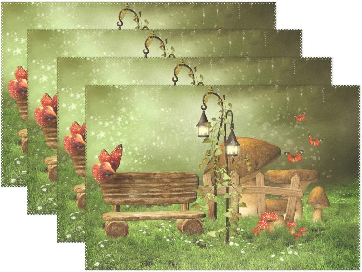 ALAZA Enchanted Fairy Garden Placemats Set of 4, Heat Resistant Washable Polyester Kitchen Table Mats