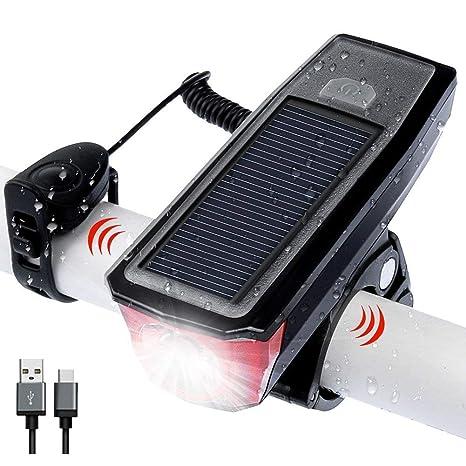 Amostik USB Recargable Bicicleta luz Delantera, Energía Solar y ...
