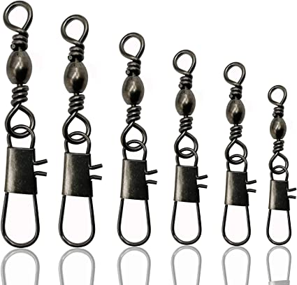 50pcs//lot Rolling swivel with hanging snap fishing tackle fishhooks connector Ne