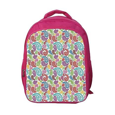 84642df0c0fc iPrint School Bags Kid's Backpacks Customizable,Paisley Decor,Modern  Teardrop Shaped Striped Oriental Pattern