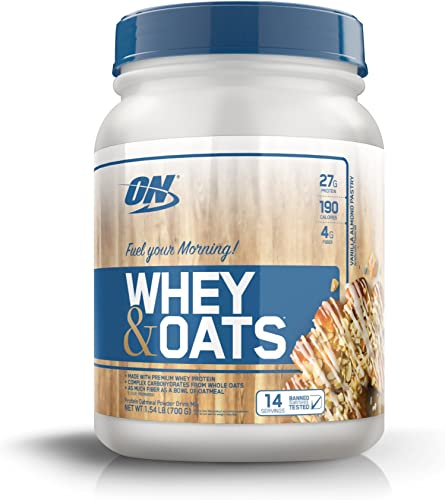 Optimum Nutrition Whey Oats Protein Powder, Breakfast Or Anytime High Protein and High Fiber Shake, Vanilla Almond Pastry, 14 Servings