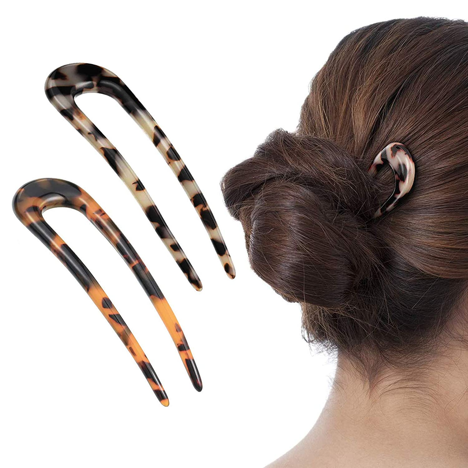 [2 Pack] Benefree French Style Cellulose Acetate Tortoise Shell U Shaped Hair Pin Fork 2 Prong Updo Chignon Pin for Women Girls Hairstyle Accessories(Tortoiseshell and White Tortoiseshell) : Beauty