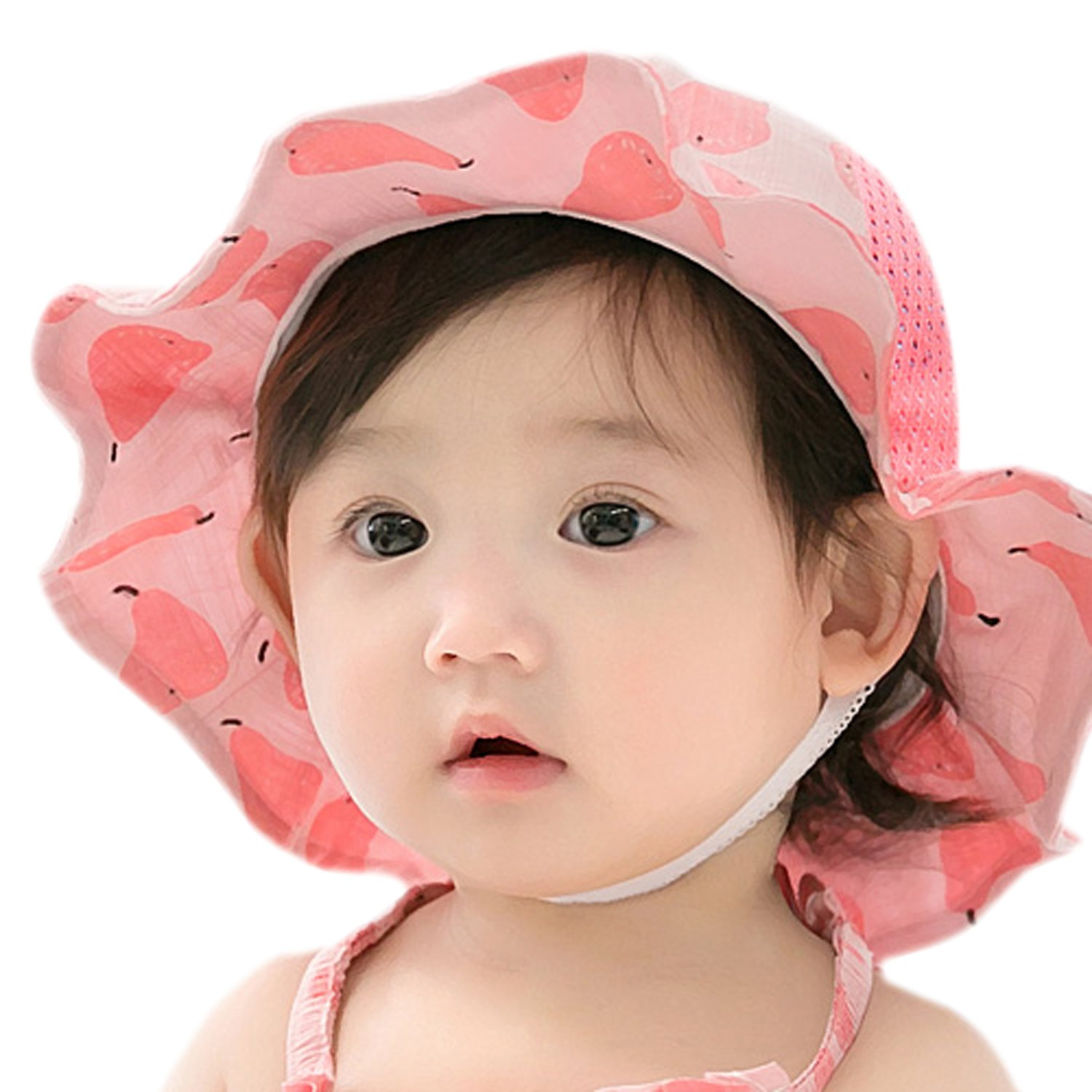 GZMM Baby Girls Sun Protection Hat Cotton Breathable Material UPF50+(6-12M) by GZMM (Image #1)