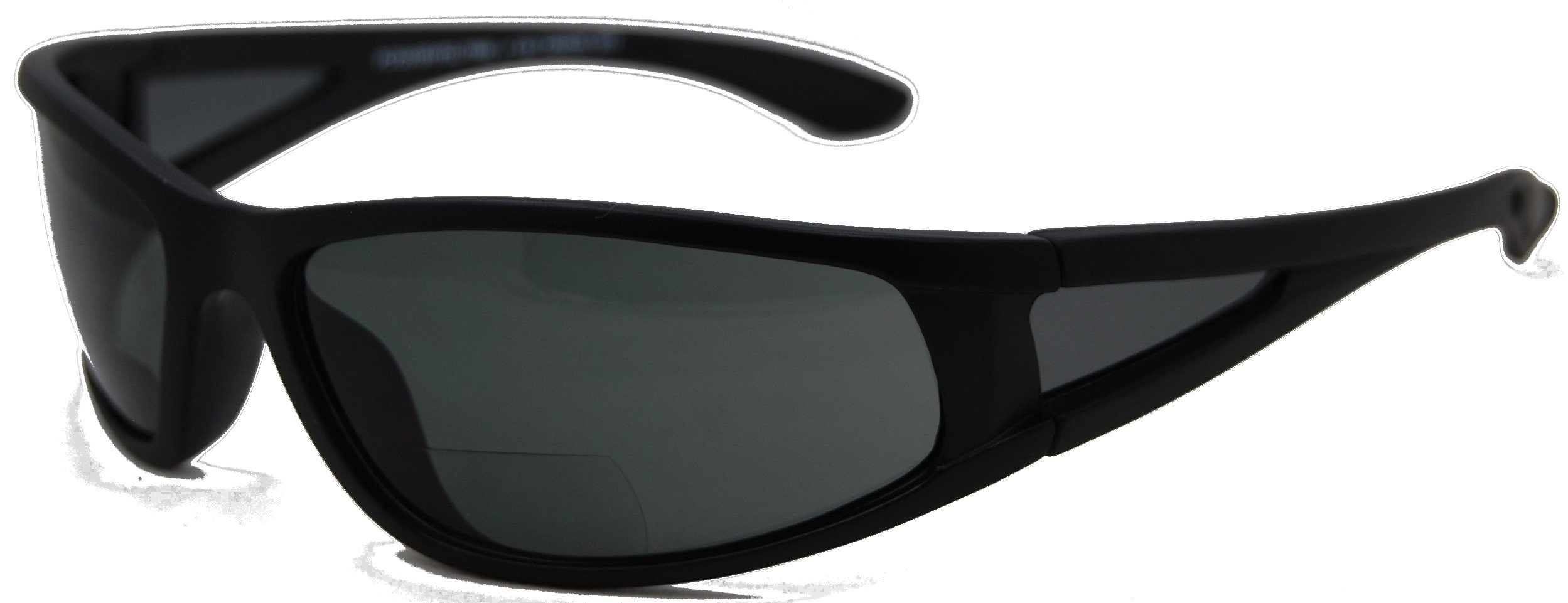 In Style Eyes Del Mar Polarized Wrap Nearly Invisible Line Bifocal Sunglass Readers/Matte Black/2.00 Strength
