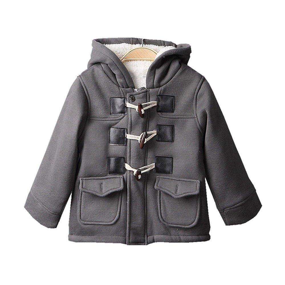 Baby Boys Cotton Fleece Hooded Jacket Outerwear Duffle Coat (12-18 Months, Gray)