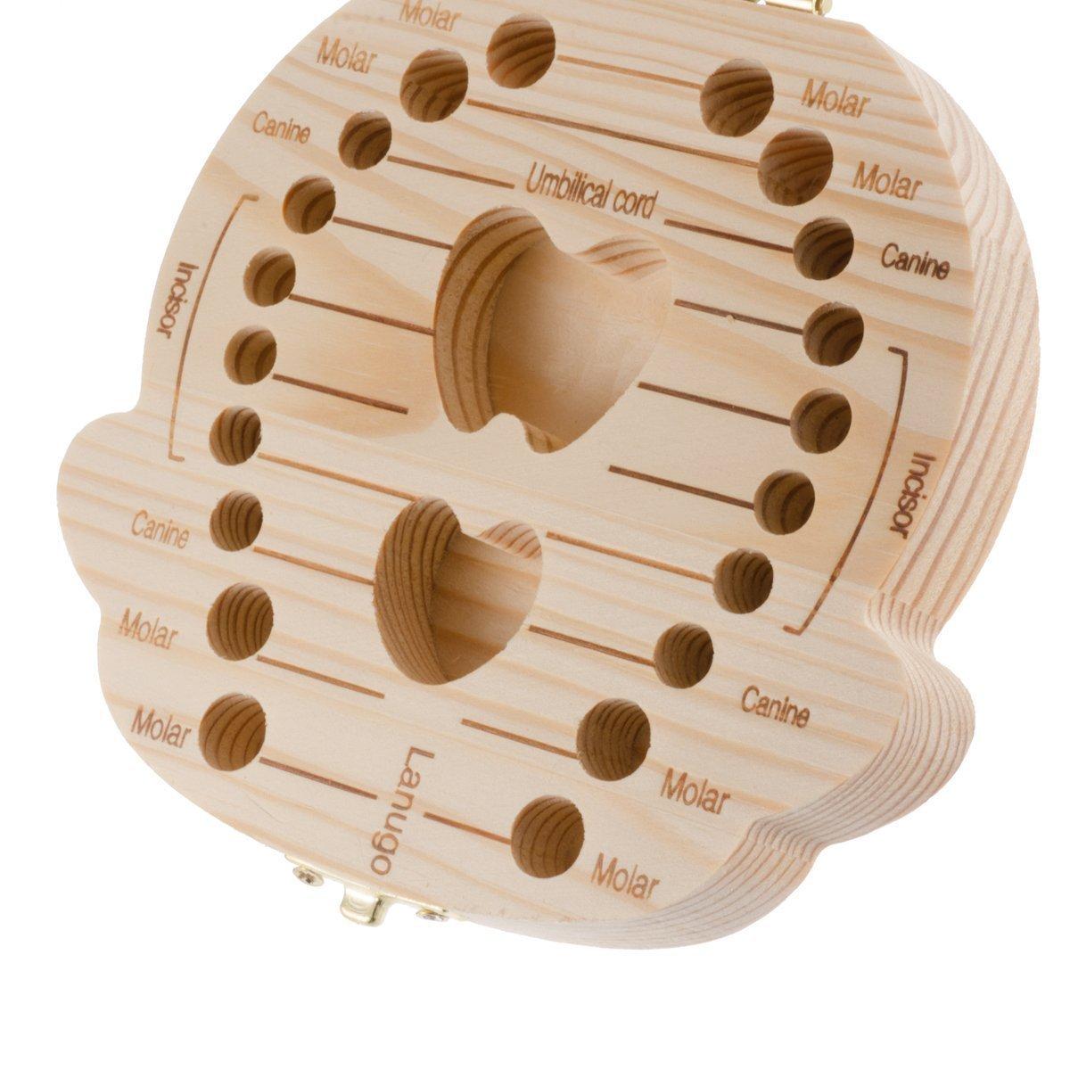 CAOLATOR Caja de Madera de Almacenamiento para Dientes De Leche Ni/ña Lengua Espa/ñola
