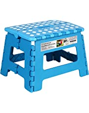 Folding Step Stool - 9 inch Height Foldable Stool For Kids & Adults, Kitchen Garden Bathroom Collapsible Stepping Stool