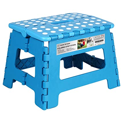 Phenomenal Folding Step Stool 9 Inch Height Foldable Stool For Kids Adults Kitchen Garden Bathroom Collapsible Stepping Stool Blue Andrewgaddart Wooden Chair Designs For Living Room Andrewgaddartcom