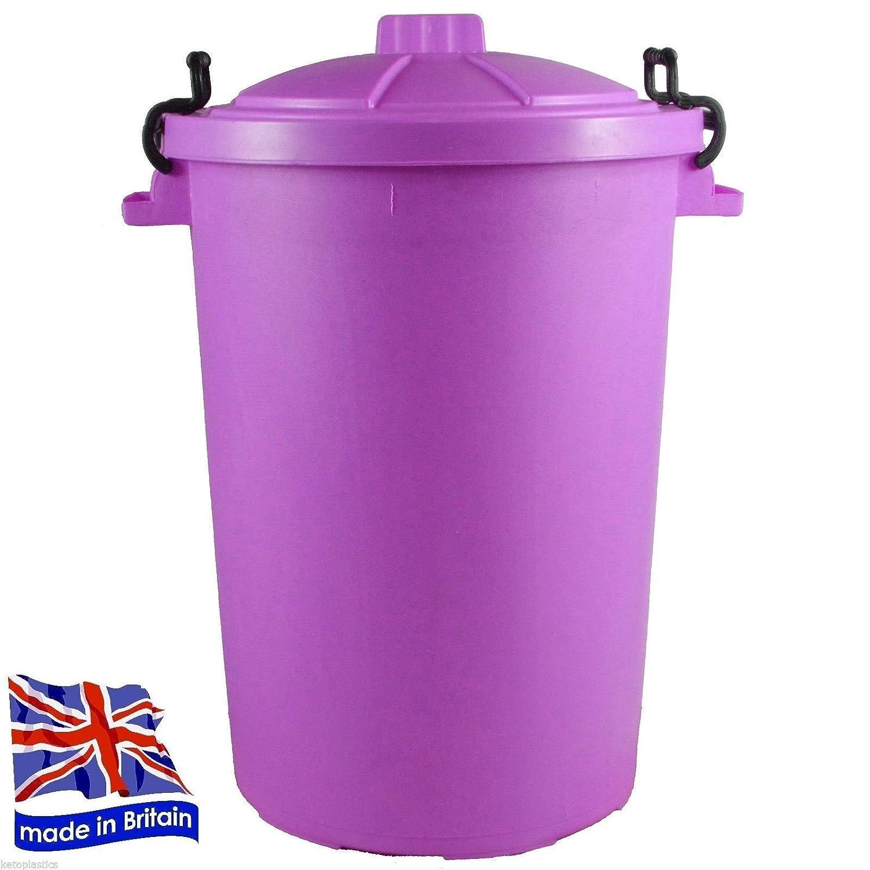 PURPLE OUTDOOR PLASTIC WASTE BIN, TRASH CAN, RUBBISH, HEAVY DUTY COLOURED DUSTBIN 85L KETO PLASTICS