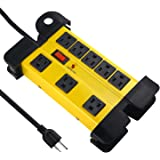 Heavy Duty Power Strip Surge Protector for Appliances, 8 Outlet Workshop Power Strip with 1200 Joules Surge, Metal Power Stri