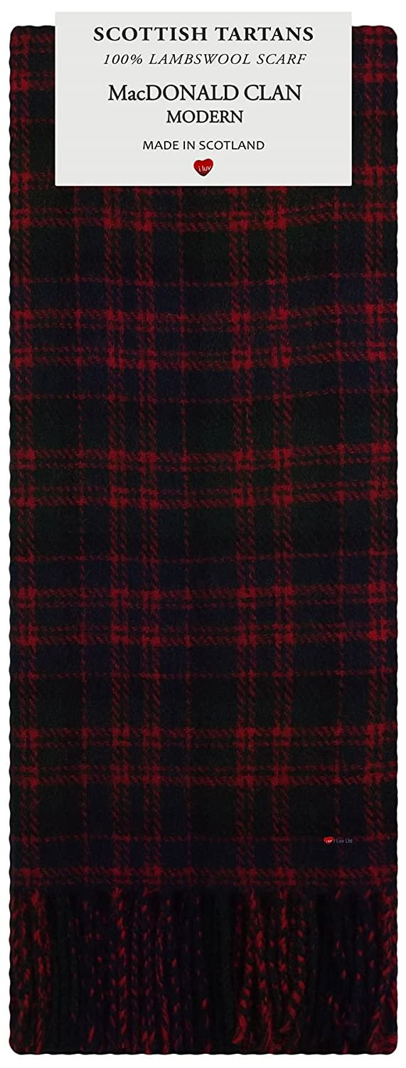 MacDonald Clan Modern Tartan Clan Fashion Scarf 100% Lambswool Made in Scotland I Luv Ltd