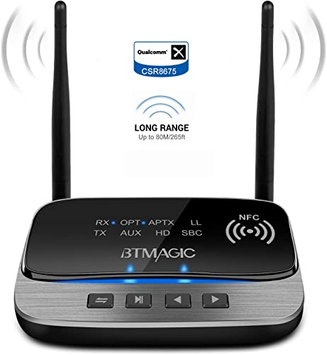 BTMAGIC Bluetooth 5.0 Transmitter Receiver 265FT Long Range 3 in 1 Bluetooth Audio Adapter aptX HD aptX Low Latency, Optical RCA AUX 3.5mm for TV Home Stereo PC Headphone Speaker, USB Rechargeable