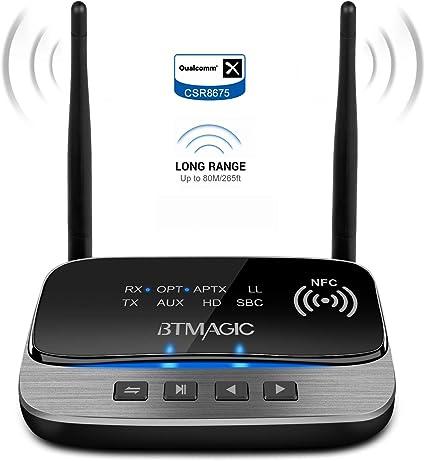 Btmagic Bluetooth 5 0 Transmitter Empfänger 3 In 1 Bluetooth Audio Adapter Aptx Hd Aptx Niedrige Latenz Optischer Cinch Aux 3 5 Mm Für Tv Heim Stereo Audio Hifi