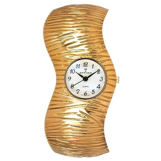 Ottimo para mujer esfera redonda reloj brazalete ondulado, color dorado: Amazon.es: Relojes